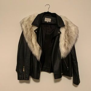 Leather jacket with detachable faux fur